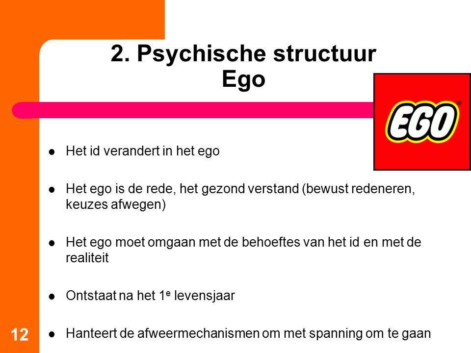 2. Psychische structuur Ego Het id verandert in het ego Het ego is de rede, het gezond verstand (bewust redeneren, keuzes afwegen) Het ego moet omgaan