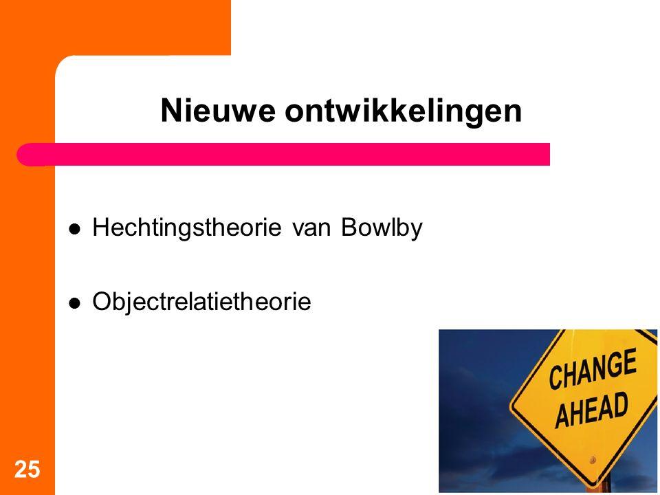 Nieuwe ontwikkelingen Hechtingstheorie van Bowlby Objectrelatietheorie 25