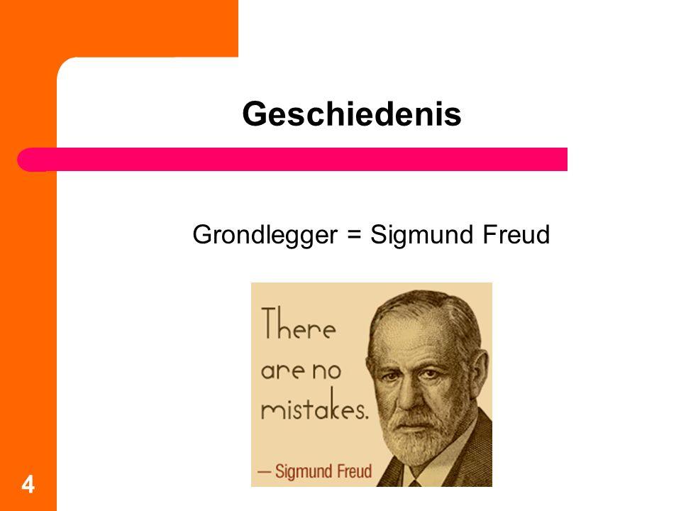Ontstaan van de psychoanalyse Natuurwetenschappen = achtergrond (biologische benadering) Ontdekking van (het belang van) het onderbewuste Hypnose als middel om het onderbewuste te verkennen, Freud vervangt dit door dromen (droomduiding) Met de droomduiding neemt Freud afstand van reële traumatische gebeurtenissen en gaat op zoek naar onbewuste wensen 5