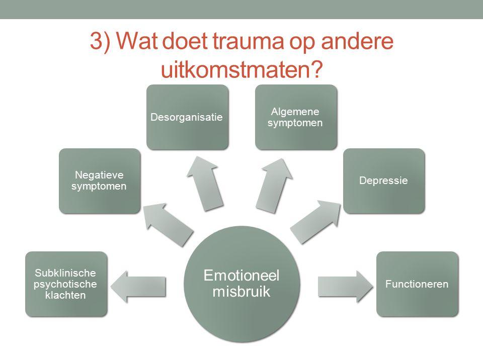 3) Wat doet trauma op andere uitkomstmaten? Emotioneel misbruik Subklinische psychotische klachten Negatieve symptomen Desorganisatie Algemene symptom