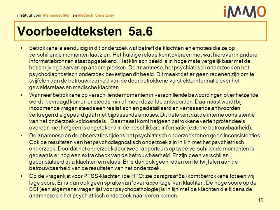 instituut voor Mensenrechten en Medisch Onderzoek Voorbeeldteksten 5a.6 Betrokkene is eenduidig in dit onderzoek wat betreft de klachten en emoties di