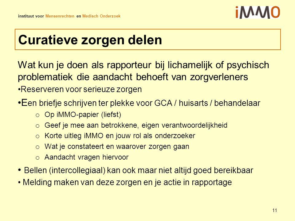 instituut voor Mensenrechten en Medisch Onderzoek Curatieve zorgen delen Wat kun je doen als rapporteur bij lichamelijk of psychisch problematiek die