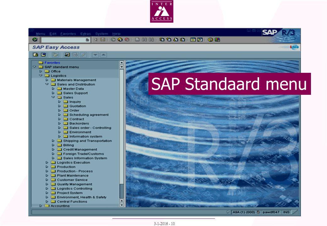 3-1-2016 - 10 SAP Standaard menu
