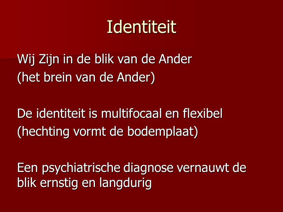 Identiteit Wij Zijn in de blik van de Ander (het brein van de Ander) De identiteit is multifocaal en flexibel (hechting vormt de bodemplaat) Een psych