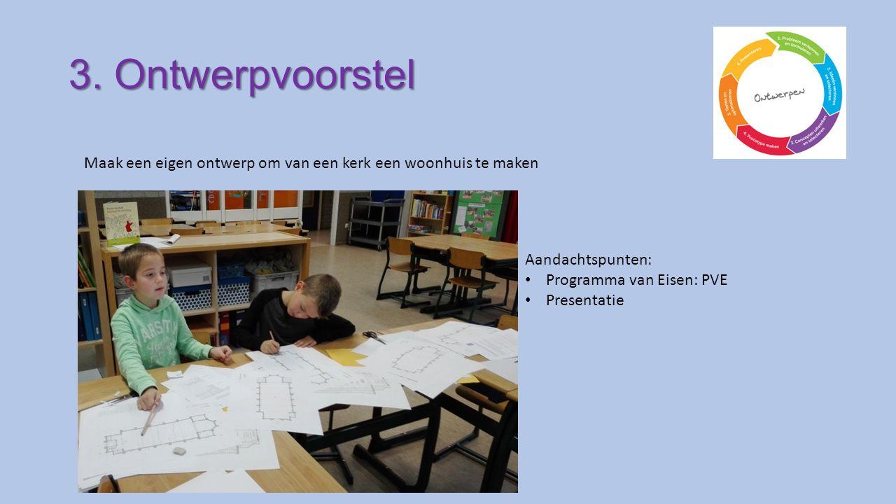 3. Ontwerpvoorstel Maak een eigen ontwerp om van een kerk een woonhuis te maken Aandachtspunten: Programma van Eisen: PVE Presentatie