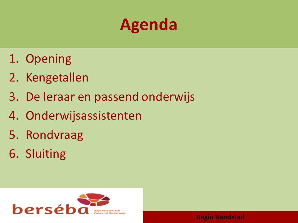 Agenda 1.Opening 2.Kengetallen 3.De leraar en passend onderwijs 4.Onderwijsassistenten 5.Rondvraag 6.Sluiting Regio Randstad