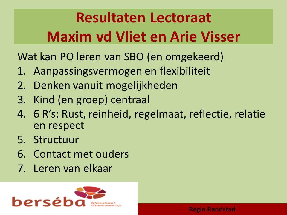 Resultaten Lectoraat Maxim vd Vliet en Arie Visser Wat kan PO leren van SBO (en omgekeerd) 1.Aanpassingsvermogen en flexibiliteit 2.Denken vanuit moge