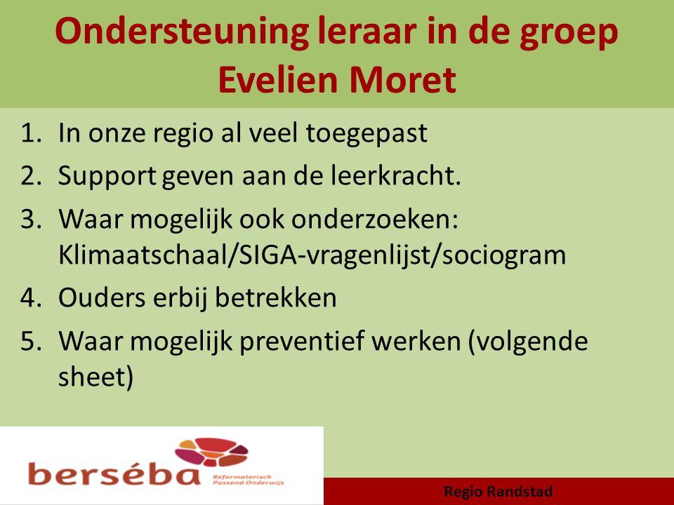 Ondersteuning leraar in de groep Evelien Moret 1.In onze regio al veel toegepast 2.Support geven aan de leerkracht. 3.Waar mogelijk ook onderzoeken: K