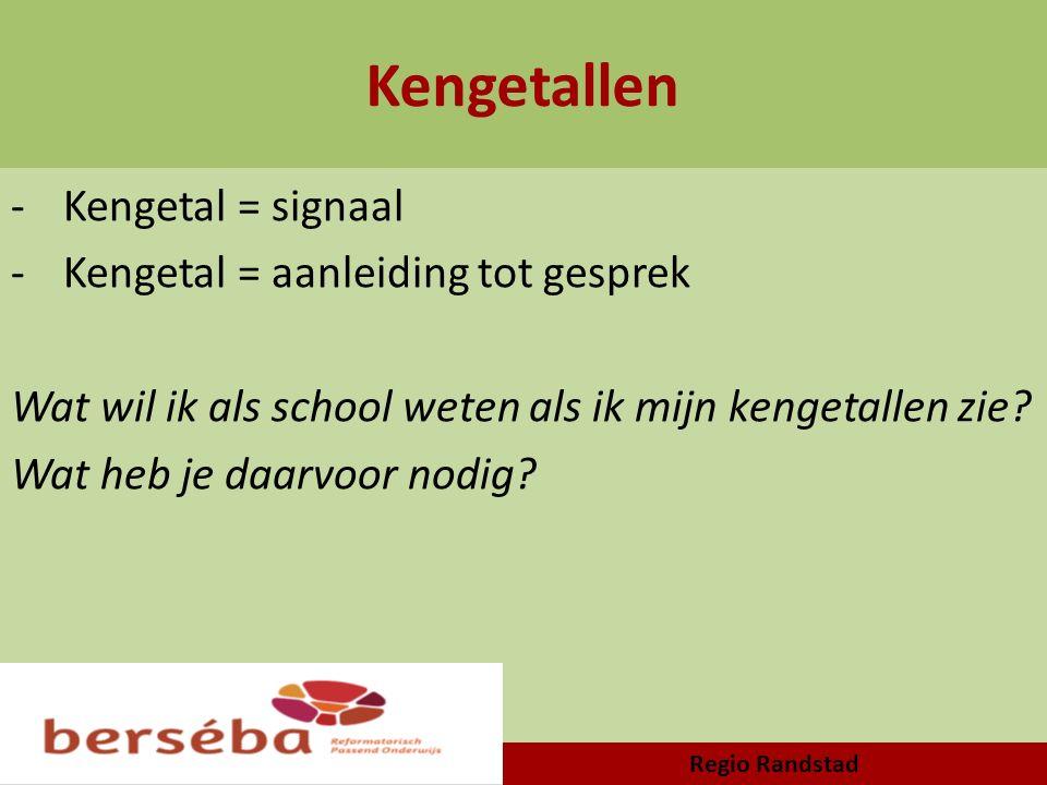 Kengetallen -Kengetal = signaal -Kengetal = aanleiding tot gesprek Wat wil ik als school weten als ik mijn kengetallen zie? Wat heb je daarvoor nodig?