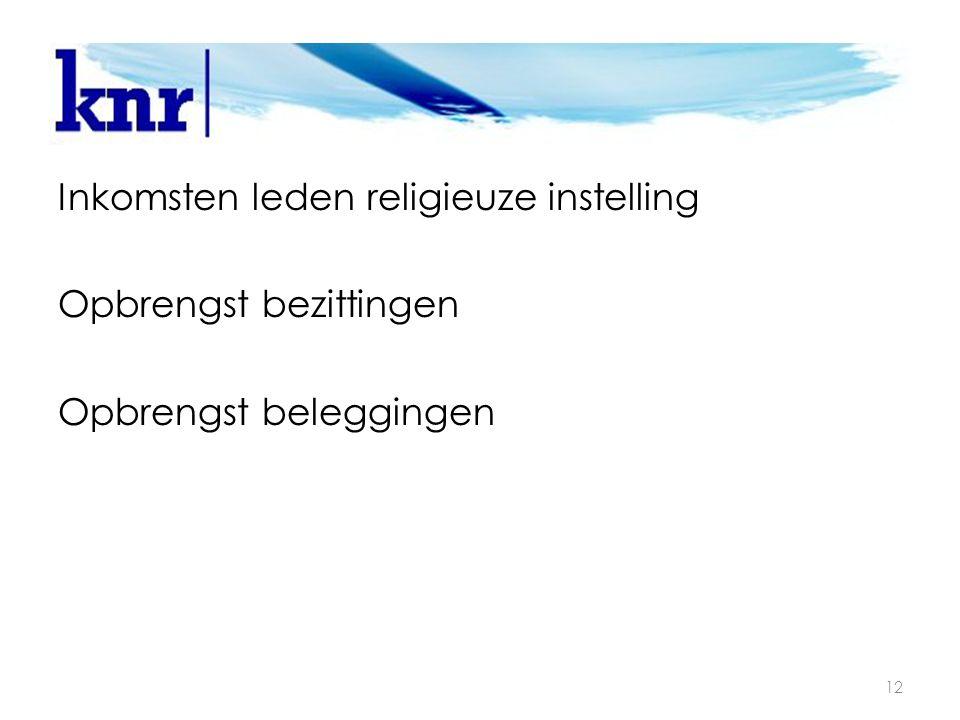 Attentiepunten 12 Inkomsten leden religieuze instelling Opbrengst bezittingen Opbrengst beleggingen