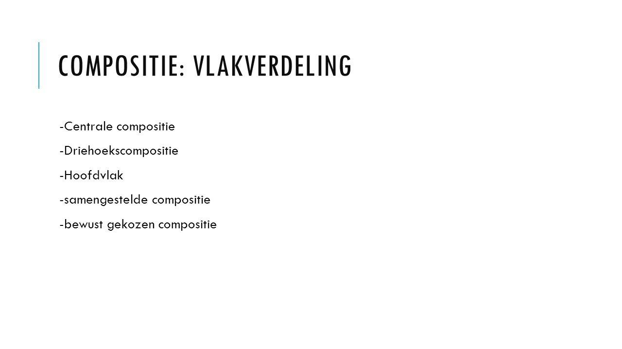 COMPOSITIE: VLAKVERDELING -Centrale compositie -Driehoekscompositie -Hoofdvlak -samengestelde compositie -bewust gekozen compositie