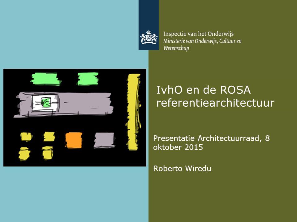 IvhO en de ROSA referentiearchitectuur Presentatie Architectuurraad, 8 oktober 2015 Roberto Wiredu