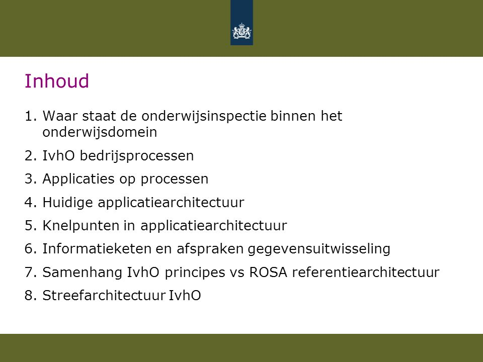 Inhoud 1.Waar staat de onderwijsinspectie binnen het onderwijsdomein 2.IvhO bedrijsprocessen 3.Applicaties op processen 4.Huidige applicatiearchitectu