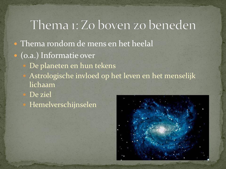 Thema rondom de mens en het heelal (o.a.) Informatie over De planeten en hun tekens Astrologische invloed op het leven en het menselijk lichaam De ziel Hemelverschijnselen