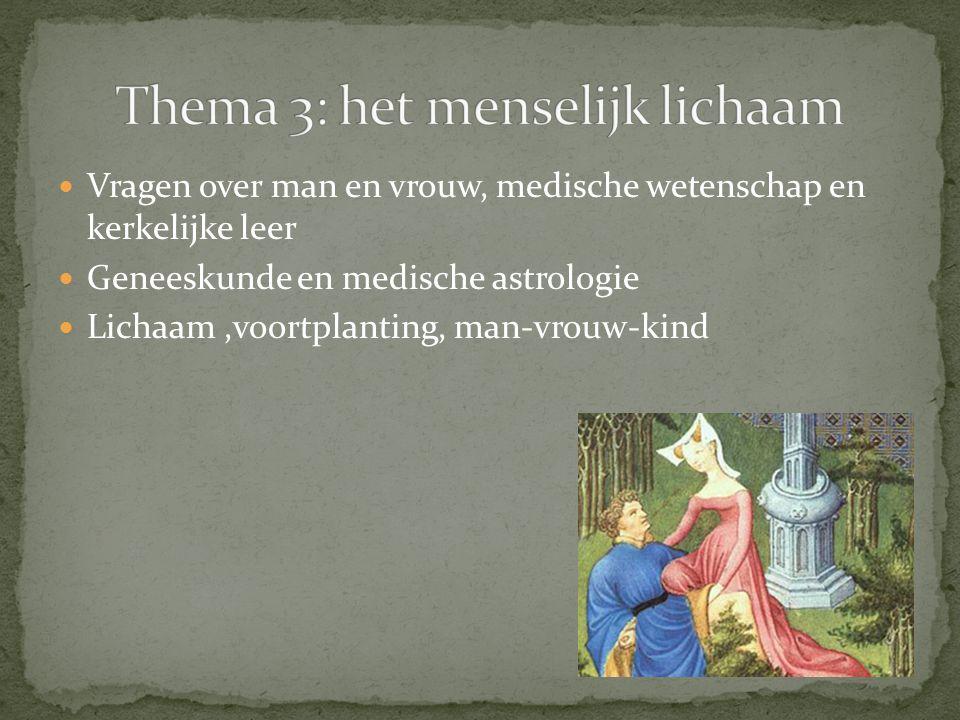Vragen over man en vrouw, medische wetenschap en kerkelijke leer Geneeskunde en medische astrologie Lichaam,voortplanting, man-vrouw-kind