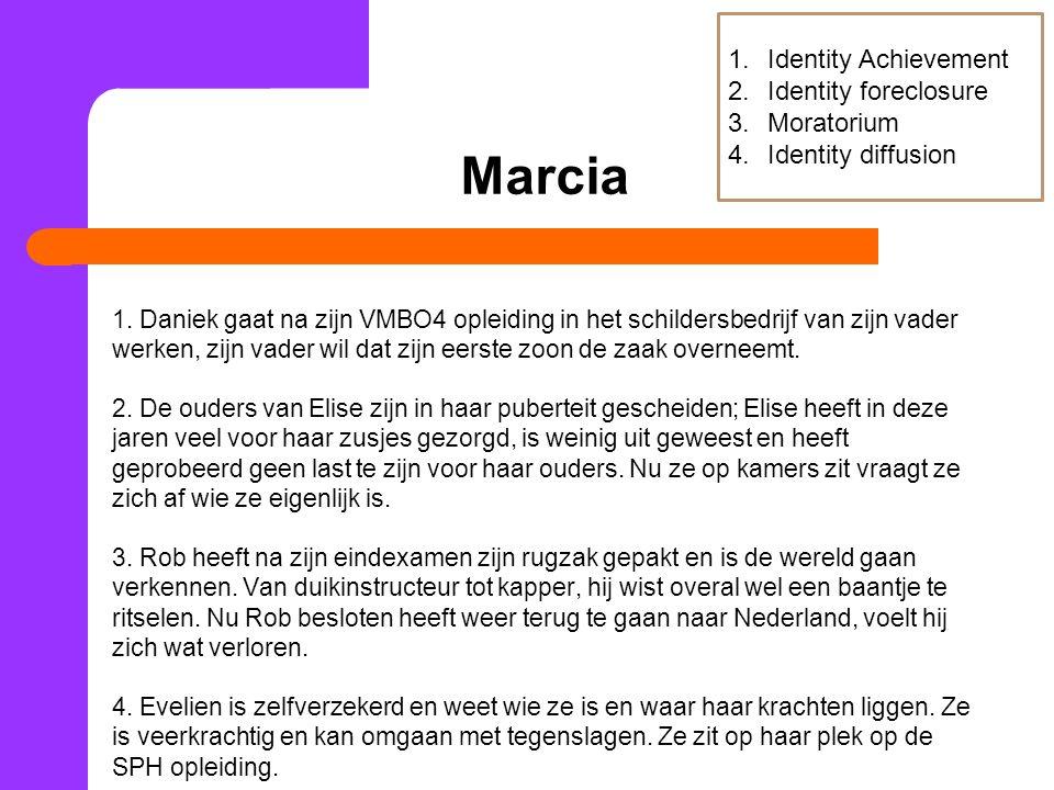 Marcia 1. Daniek gaat na zijn VMBO4 opleiding in het schildersbedrijf van zijn vader werken, zijn vader wil dat zijn eerste zoon de zaak overneemt. 2.