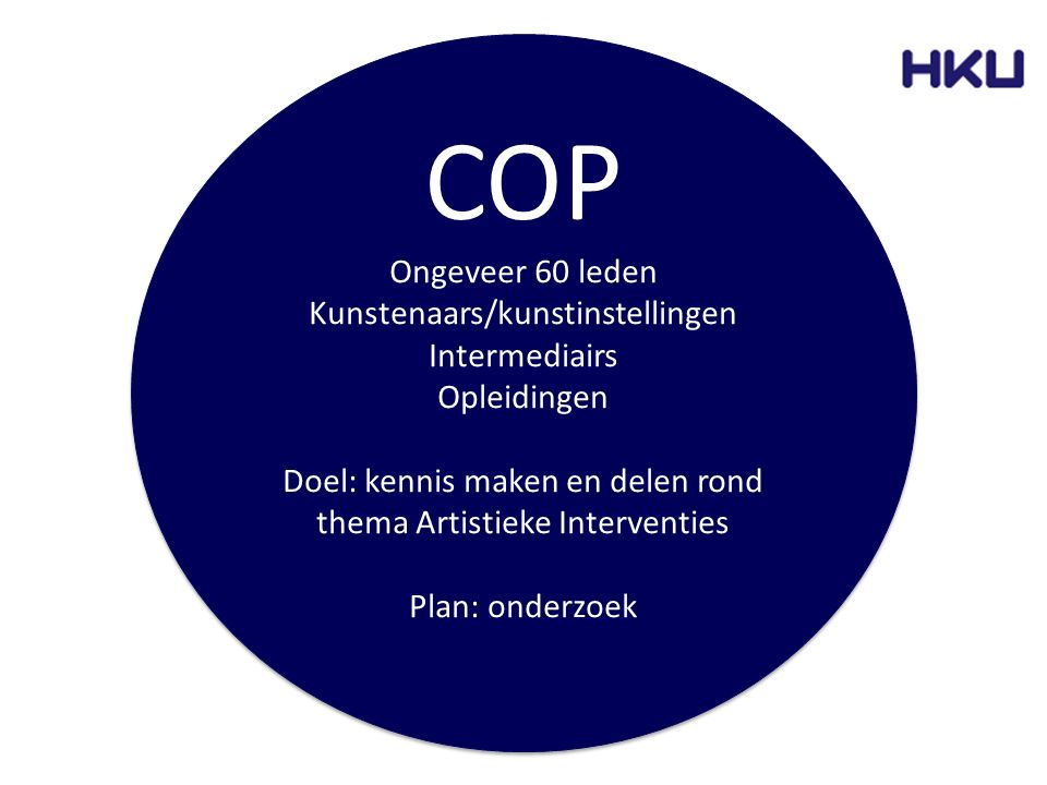 COP Ongeveer 60 leden Kunstenaars/kunstinstellingen Intermediairs Opleidingen Doel: kennis maken en delen rond thema Artistieke Interventies Plan: ond