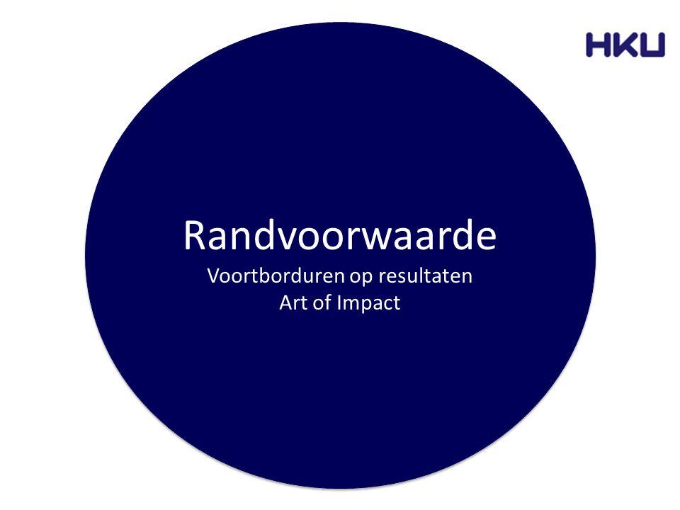 Randvoorwaarde Voortborduren op resultaten Art of Impact Randvoorwaarde Voortborduren op resultaten Art of Impact