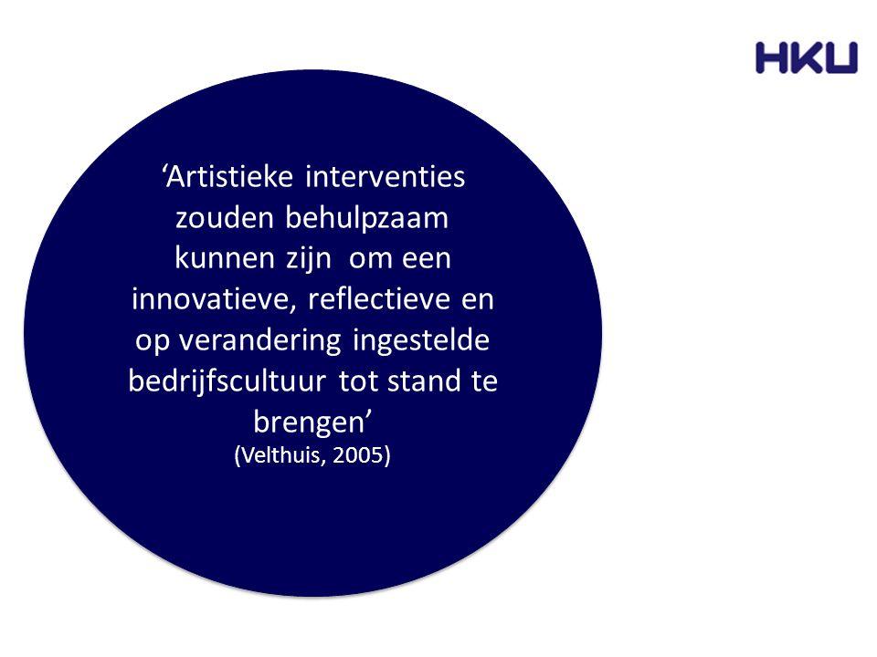 'Artistieke interventies zouden behulpzaam kunnen zijn om een innovatieve, reflectieve en op verandering ingestelde bedrijfscultuur tot stand te breng