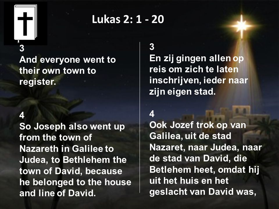 Lukas 2: 1 - 20 3 And everyone went to their own town to register.