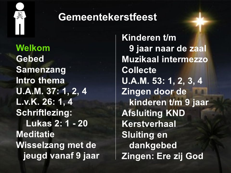 Lukas 2: 1 - 20 14 Glory to God in the highest heaven, and on earth peace to those on whom his favor rests. 15 When the angels had left them and gone into heaven, the shepherds said to one another, 14 Ere zij God in den hoge, en vrede op aarde bij mensen des welbehagens.