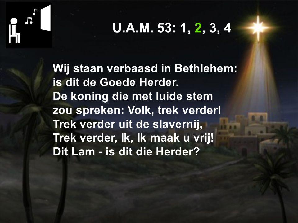 U.A.M.53: 1, 2, 3, 4 Wij staan verbaasd in Bethlehem: is dit de Goede Herder.