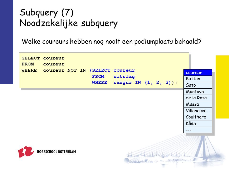 Subquery (7) Noodzakelijke subquery SELECT coureur FROM coureur WHERE coureur NOT IN (SELECT coureur FROM uitslag WHERE rangnr IN (1, 2, 3)); SELECT coureur FROM coureur WHERE coureur NOT IN (SELECT coureur FROM uitslag WHERE rangnr IN (1, 2, 3)); Welke coureurs hebben nog nooit een podiumplaats behaald.