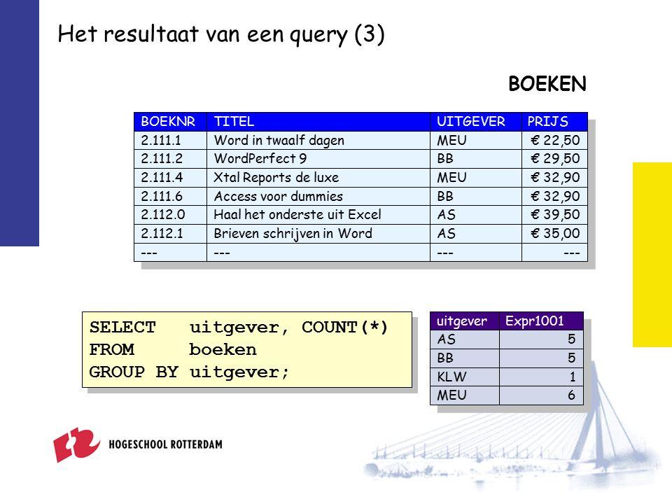 Het resultaat van een query (4) Het resultaat is altijd Expr1000 € 89,90 uitgever AS BB KLW MEU uitgeverExpr1001 AS5 BB5 KLW1 MEU6 Eén getal, tekst of datum Een rijtje getallen, teksten of datums Een complete tabel