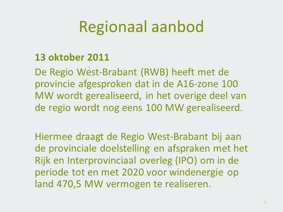 3 Regionaal aanbod 13 oktober 2011 De Regio West-Brabant (RWB) heeft met de provincie afgesproken dat in de A16-zone 100 MW wordt gerealiseerd, in het