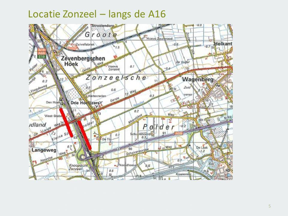5 Locatie Zonzeel – langs de A16 4 windmolens west en 4 windmolens oostelijke zijde A16