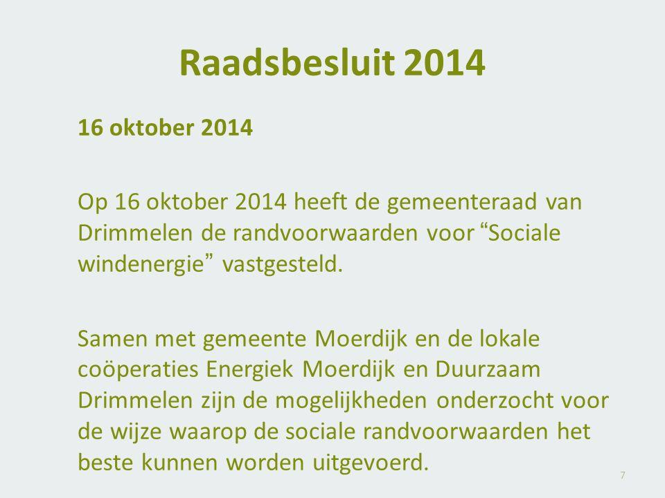 """Raadsbesluit 2014 16 oktober 2014 Op 16 oktober 2014 heeft de gemeenteraad van Drimmelen de randvoorwaarden voor """"Sociale windenergie"""" vastgesteld. Sa"""