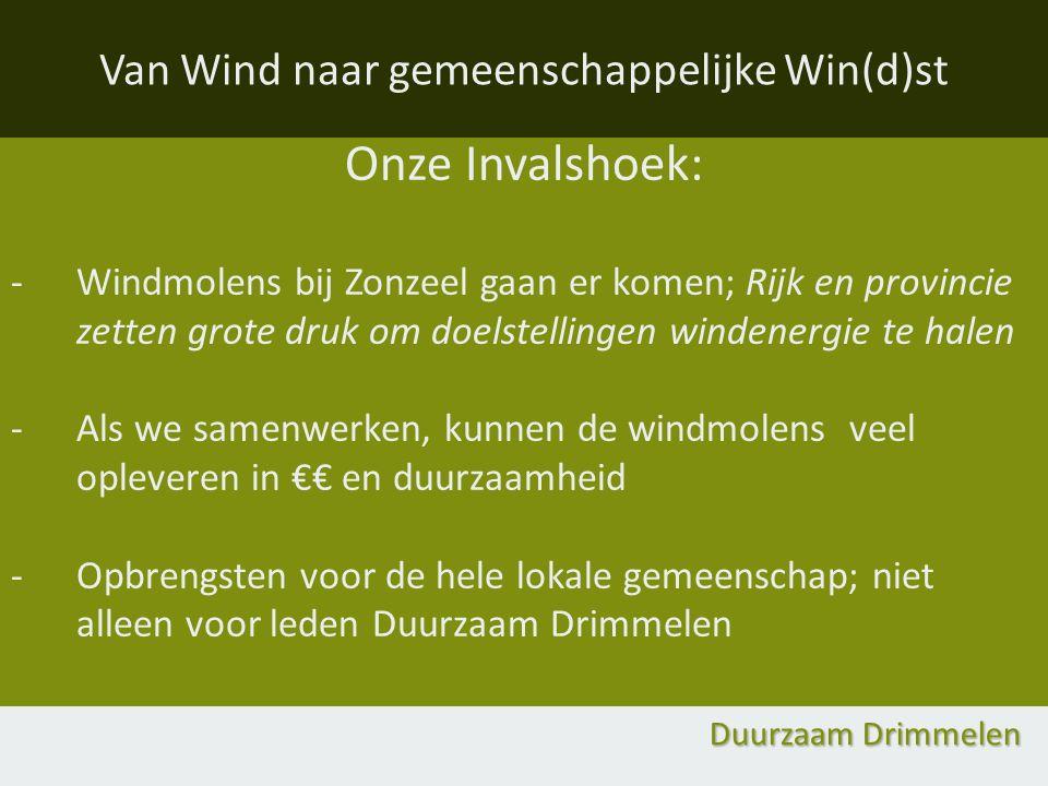 Onze Invalshoek: -Windmolens bij Zonzeel gaan er komen; Rijk en provincie zetten grote druk om doelstellingen windenergie te halen -Als we samenwerken