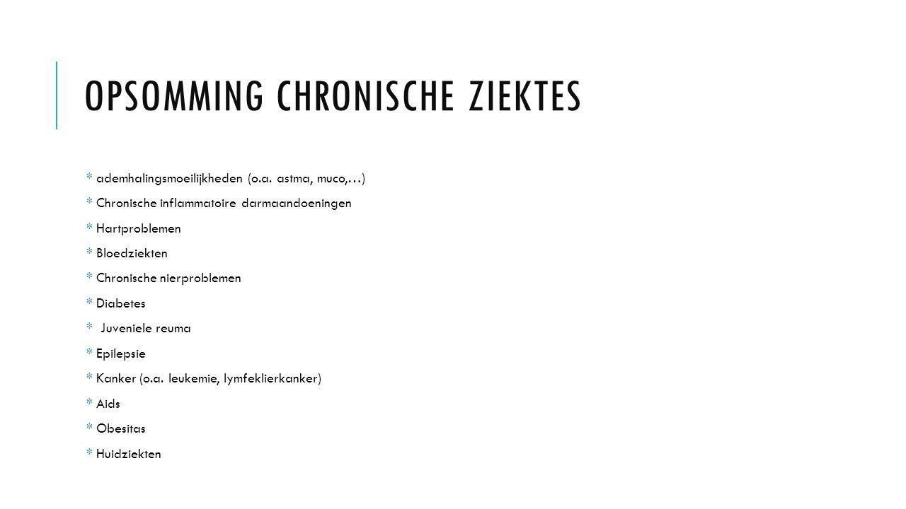 OPSOMMING CHRONISCHE ZIEKTES * ademhalingsmoeilijkheden (o.a.