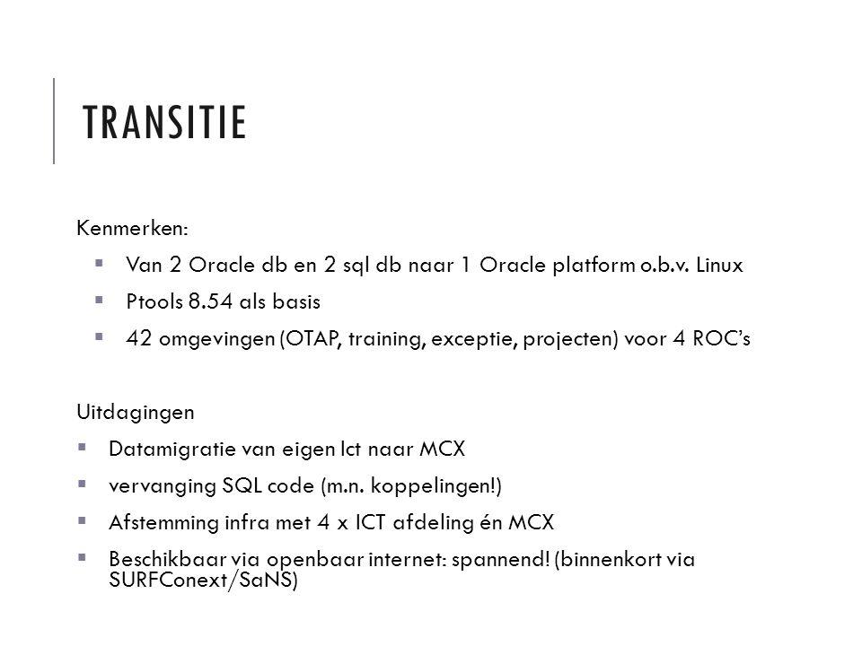 TRANSITIE Kenmerken:  Van 2 Oracle db en 2 sql db naar 1 Oracle platform o.b.v. Linux  Ptools 8.54 als basis  42 omgevingen (OTAP, training, except