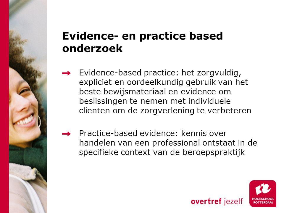Evidence- en practice based onderzoek Evidence-based practice: het zorgvuldig, expliciet en oordeelkundig gebruik van het beste bewijsmateriaal en evi