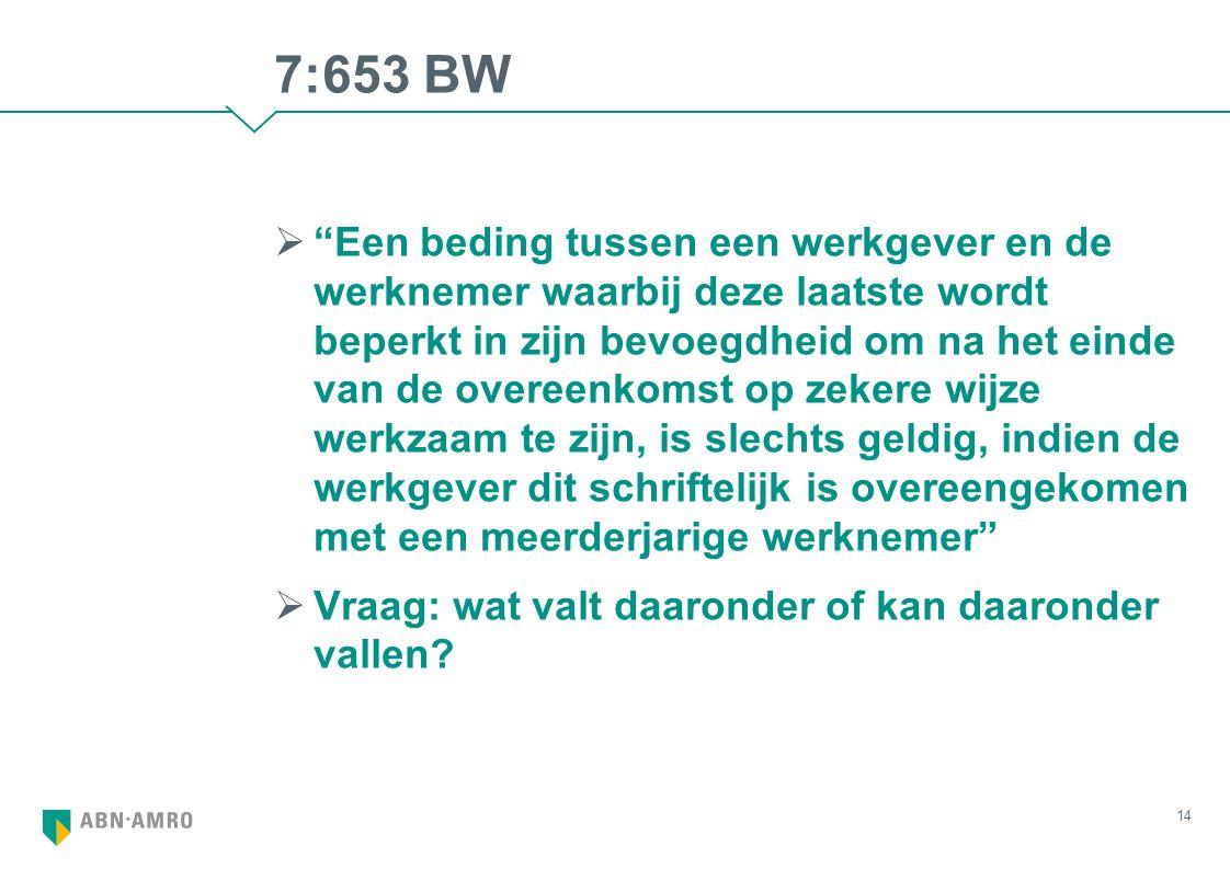 """7:653 BW  """"Een beding tussen een werkgever en de werknemer waarbij deze laatste wordt beperkt in zijn bevoegdheid om na het einde van de overeenkomst"""