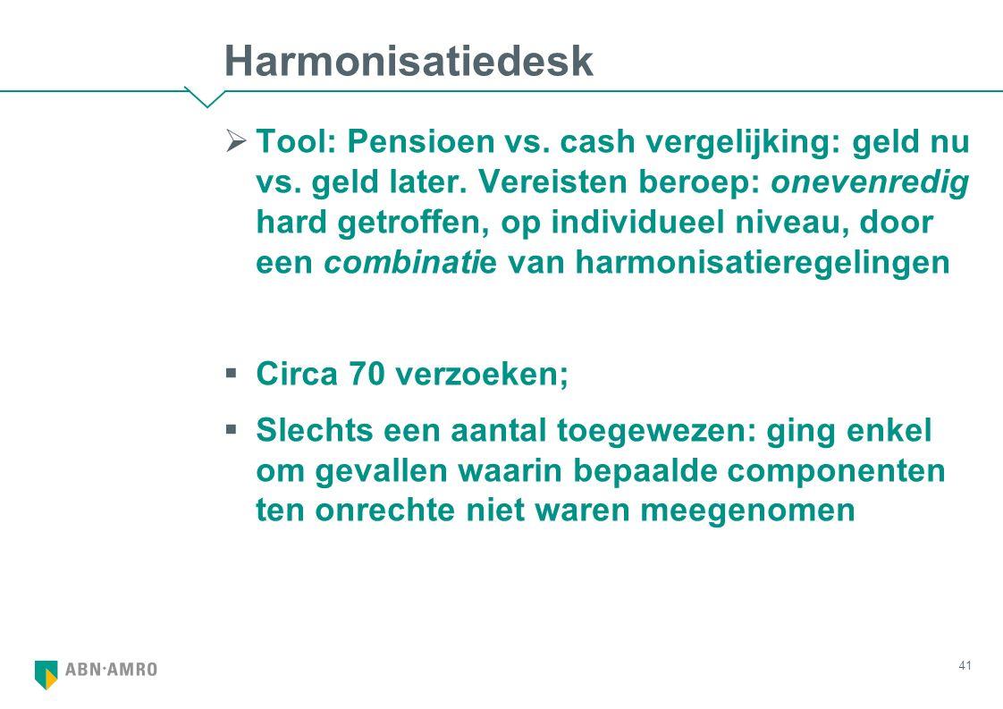 Harmonisatiedesk  Tool: Pensioen vs. cash vergelijking: geld nu vs. geld later. Vereisten beroep: onevenredig hard getroffen, op individueel niveau,