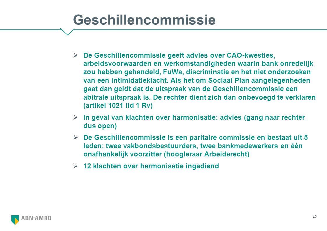 Geschillencommissie  De Geschillencommissie geeft advies over CAO-kwesties, arbeidsvoorwaarden en werkomstandigheden waarin bank onredelijk zou hebbe