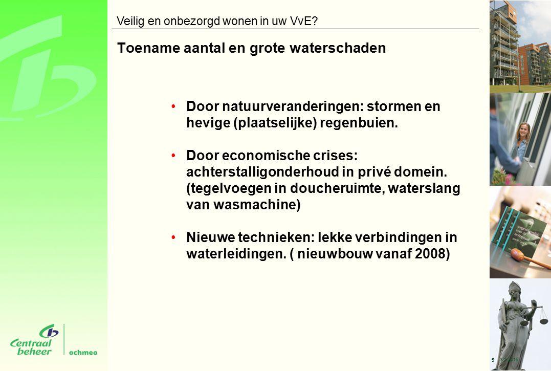 Toename aantal en grote waterschaden Door natuurveranderingen: stormen en hevige (plaatselijke) regenbuien.