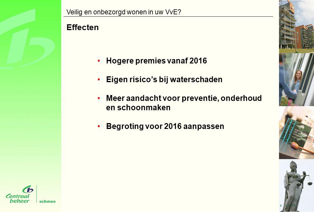 Effecten Hogere premies vanaf 2016 Eigen risico's bij waterschaden Meer aandacht voor preventie, onderhoud en schoonmaken Begroting voor 2016 aanpassen Veilig en onbezorgd wonen in uw VvE.