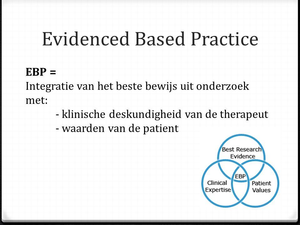 Evidenced Based Practice EBP = Integratie van het beste bewijs uit onderzoek met: - klinische deskundigheid van de therapeut - waarden van de patient