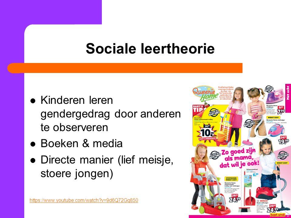 Sociale leertheorie Kinderen leren gendergedrag door anderen te observeren Boeken & media Directe manier (lief meisje, stoere jongen) https://www.youtube.com/watch?v=9d6Q72Gq850