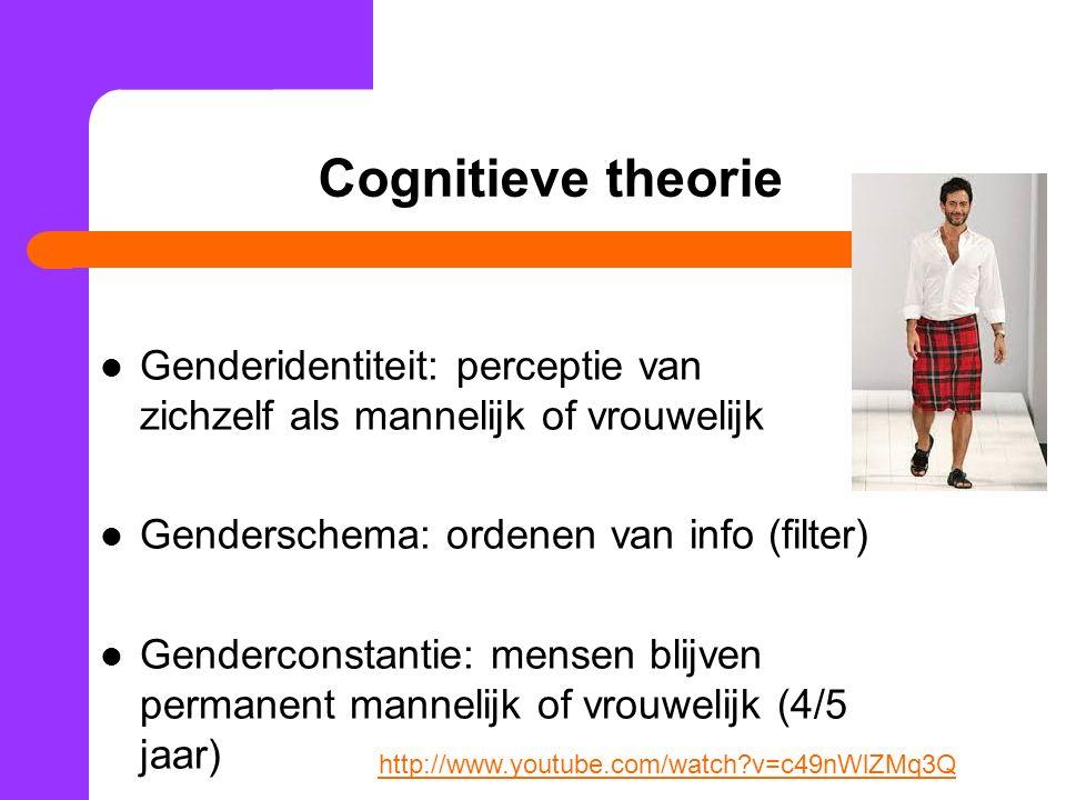 Cognitieve theorie Genderidentiteit: perceptie van zichzelf als mannelijk of vrouwelijk Genderschema: ordenen van info (filter) Genderconstantie: mensen blijven permanent mannelijk of vrouwelijk (4/5 jaar) http://www.youtube.com/watch?v=c49nWlZMq3Q