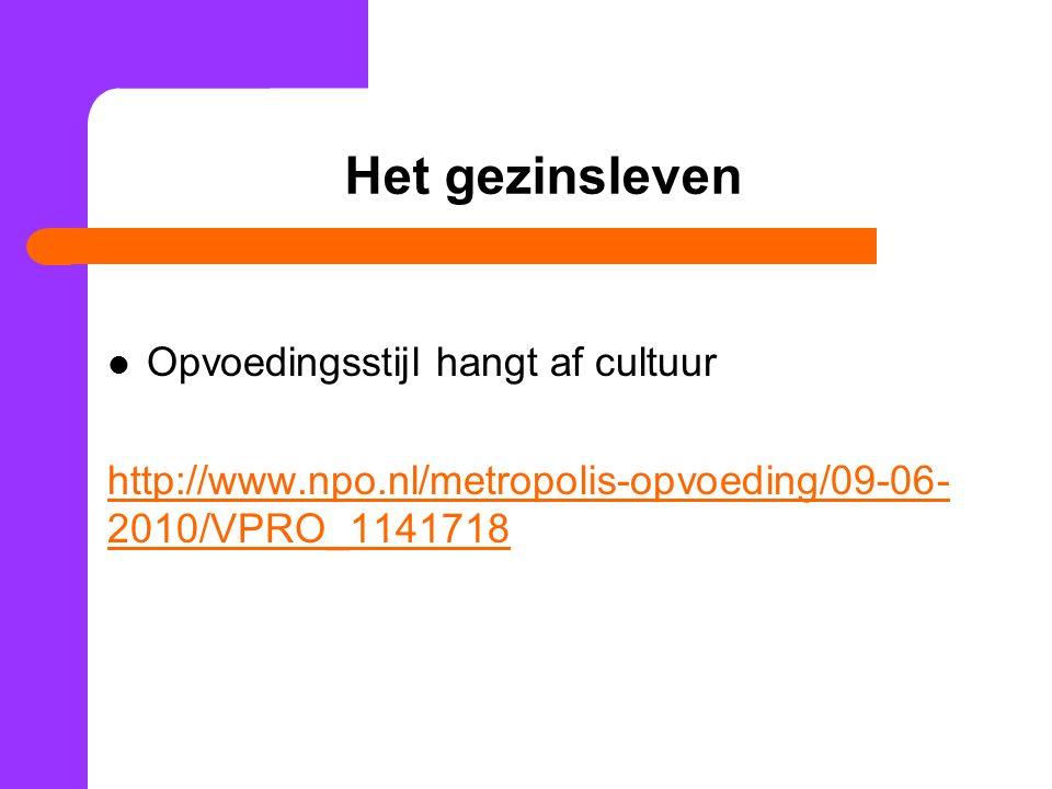 Het gezinsleven Opvoedingsstijl hangt af cultuur http://www.npo.nl/metropolis-opvoeding/09-06- 2010/VPRO_1141718
