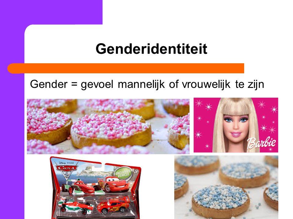 Genderidentiteit Gender = gevoel mannelijk of vrouwelijk te zijn