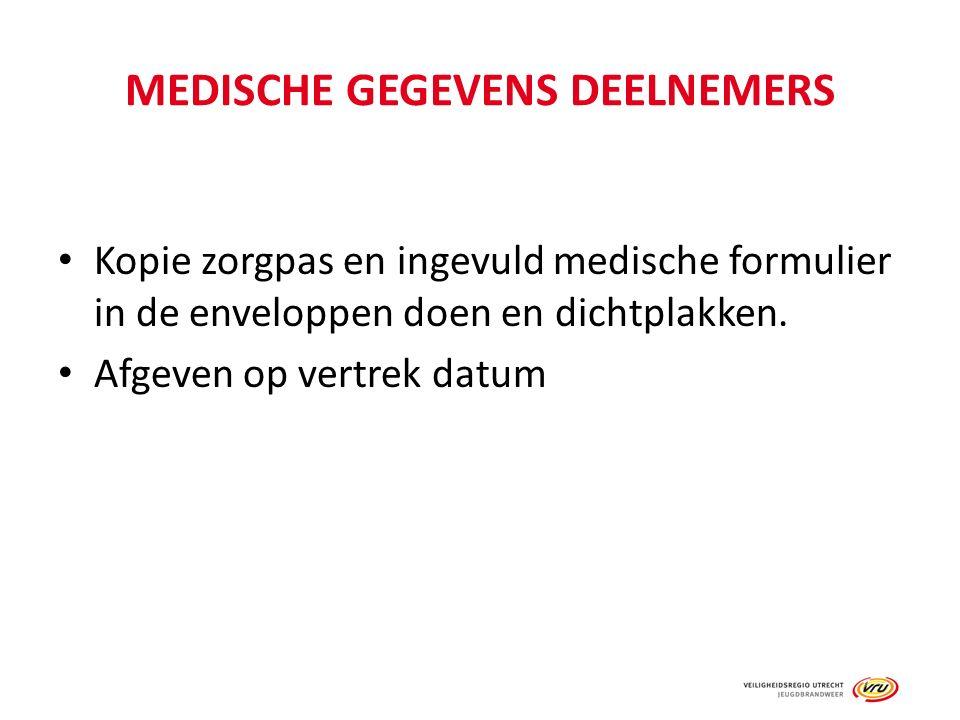 MEDISCHE GEGEVENS DEELNEMERS Kopie zorgpas en ingevuld medische formulier in de enveloppen doen en dichtplakken.