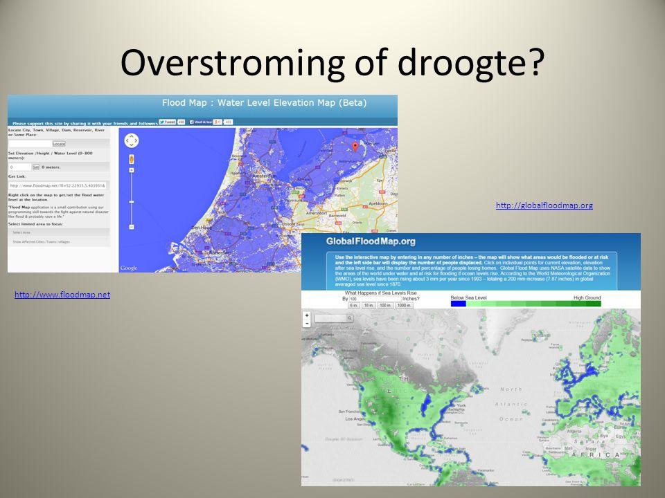 Overstroming of droogte http://www.floodmap.net http://globalfloodmap.org
