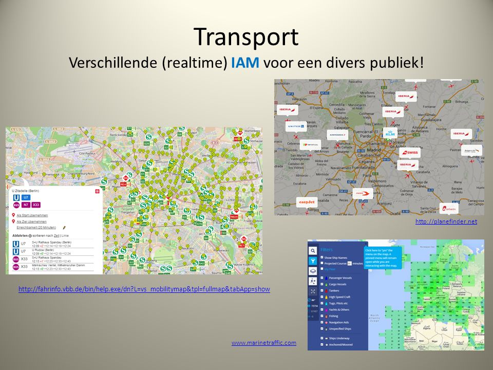 Transport Verschillende (realtime) IAM voor een divers publiek.