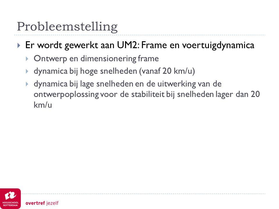 Probleemstelling  Er wordt gewerkt aan UM2: Frame en voertuigdynamica  Ontwerp en dimensionering frame  dynamica bij hoge snelheden (vanaf 20 km/u)  dynamica bij lage snelheden en de uitwerking van de ontwerpoplossing voor de stabiliteit bij snelheden lager dan 20 km/u