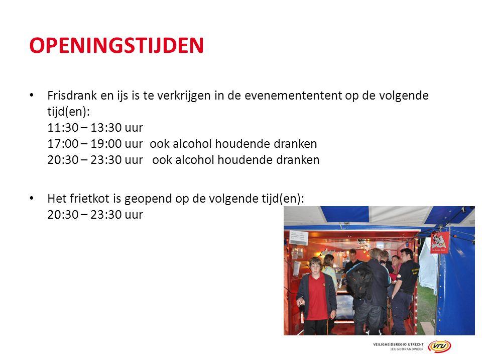 OPENINGSTIJDEN Frisdrank en ijs is te verkrijgen in de evenemententent op de volgende tijd(en): 11:30 – 13:30 uur 17:00 – 19:00 uurook alcohol houdende dranken 20:30 – 23:30 uur ook alcohol houdende dranken Het frietkot is geopend op de volgende tijd(en): 20:30 – 23:30 uur